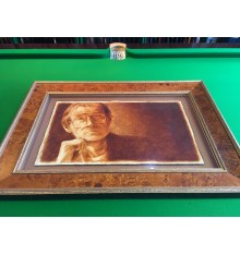 Alex Higgins, Oil on Cracked Gesso on Canvas